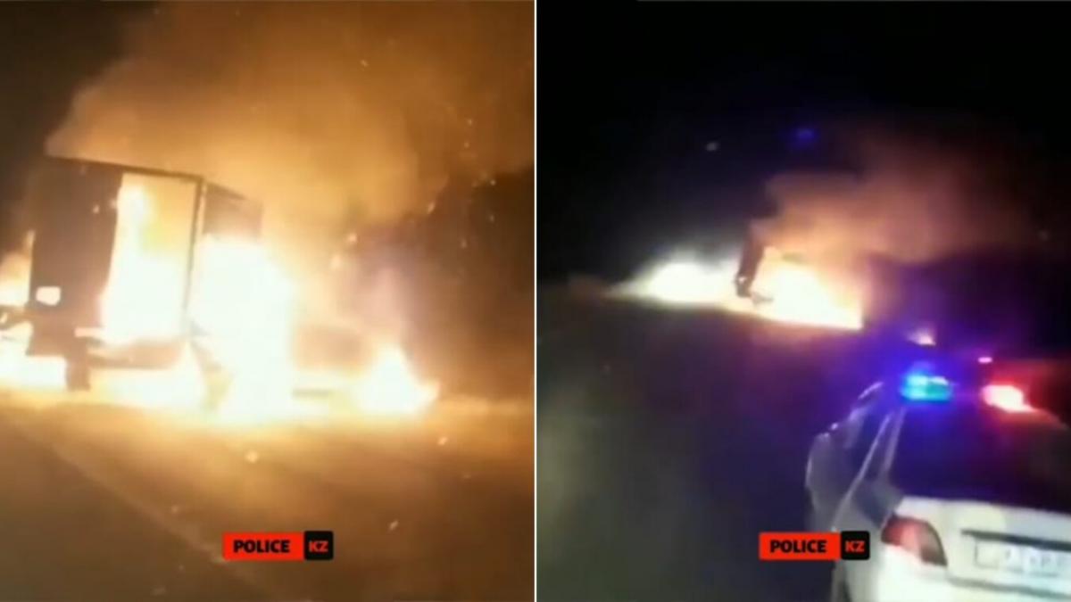 За минуту до взрыва: троих людей из горящей фуры спасли полицейские  (видео)