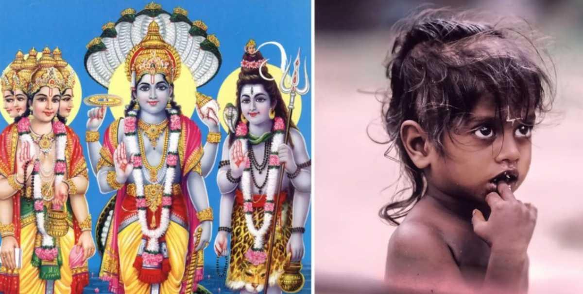 В Индии родился трехглавый младенец, паломники ринулись к нему, приняв за бога