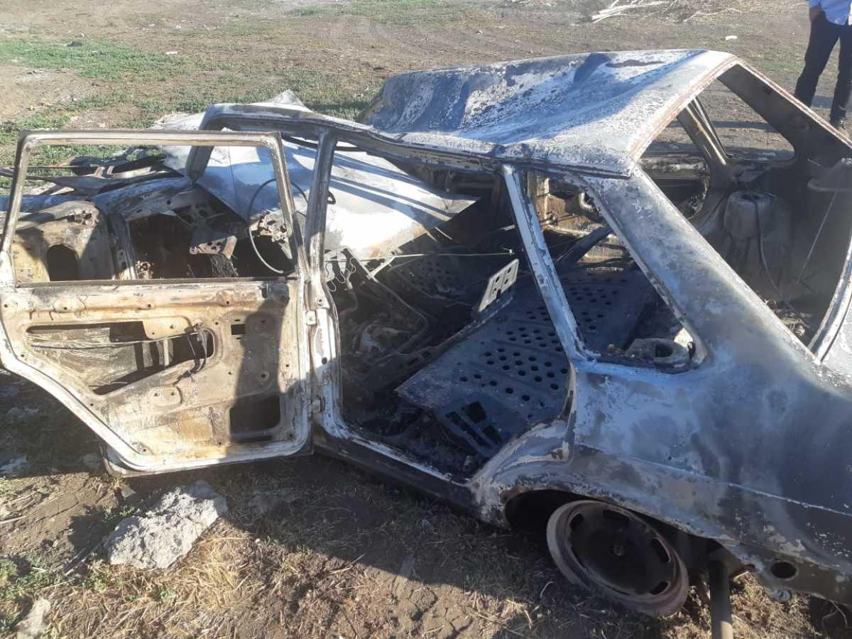 В СКО угонщик сжёг машину