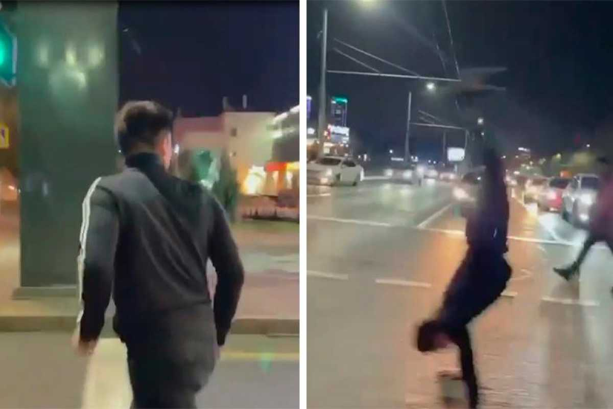 Алматинца оштрафовали за сальто на пешеходном переходе